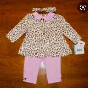 Little Me Pink & Brown Flower Outfit